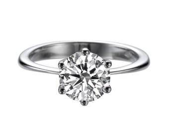 8mm Moissanite Engagement Ring, 2 Carat Solitaire Moissanite Ring, 6 Prongs Forever Brilliant Moissanite Ring, Moissanite Promise Ring