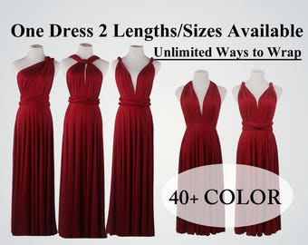 Burgundy Wine Red bridesmaid dress, long infinity dress, short convertible bridesmaid dress, infinity dress long, maxi dress, wedding dress