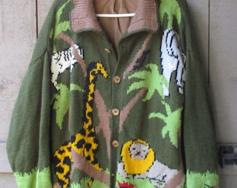 Vintage Handknit Sweater - African Safari Large Cardigan, Tan Cordoroy Lining, 7 Wood Buttons & Side Pockets, Zebra, Elephant, Giraffe, Lion
