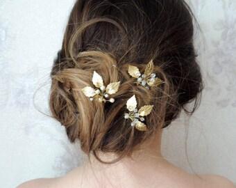 Bridal hair pins Wedding hair pins Gold leaf hair pins Silver hair pins leaf hair pins Bridal hair comb Crystal Hair pins  bridal headpiece