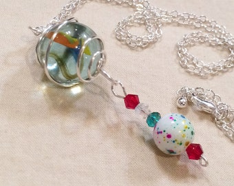 Silver Wire Caged Marble Pendant Necklace