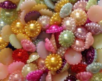 Resin Flatback Pearl Flower Bead Embellishment - Mixed Colours - 100pcs