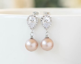 Blush Pink Mauve Pearl Bridal Earrings,  Silver Plated Cubic Zirconia CZ Crystal Post Earrings,  Blush Wedding Jewelry, Bridesmaid Earrings