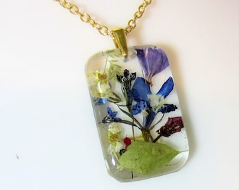 Garden Pendant, Real Flower Jewelry, Pressed Flowers, Necklace,  Resin (3043)
