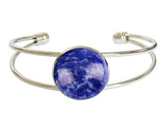 Silver plated cabochon bracelet - sodalite