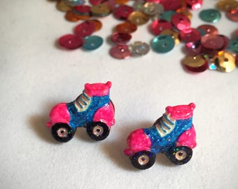 Tiny Hand Painted Roller Skate Stud Earrings - Made from Repurposed Buttons - Nickel-free Posts, Blue and Pink