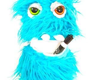 Fur monster, Plush Monster toy, plush monster, Tooth fairy pillow, pocket monster, faux fur monster, purple monster.