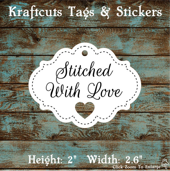 Favor Tags Stitched With Love with Heart Cut Out #678 - Quantity: 30 Tags