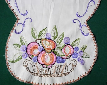 vintage cotton embroidered table runner hand embroidery fruit needlework