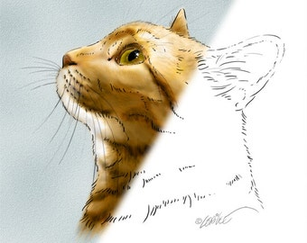 Cat Digital Stamp Drawing Download | Cat Illustration DigiStamp | Cat Sketch | Digital Scrapbooking Supplies | Cat Art | Papercrafts