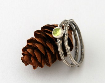 Twig and peridot stack ring set - sterling silver willow branch ring
