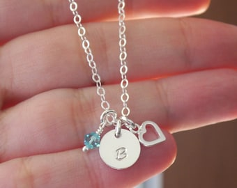 Tiny Heart Initial Necklace, Initial Birthstone Heart Necklace, Dainty Necklace for Girls, Personalized Initial Necklace, Dainty, Minimalist
