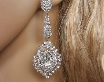 Bridal Chandelier Earrings, Vintage Earrings, Wedding Statement Earrings, Large Crystal Wedding Earrings, Big Bridal Earrings, Long Earrings
