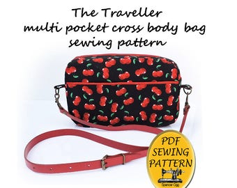 Bag sewing pattern - The Traveller Cross-body multi-pocket Purse pattern. PDF Bag sewing pattern. Purse Patterns and tutorials