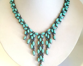Turquoise and Blue Crystal Bib Necklace Blue Stone Necklace Statement Necklace Blue Collar Necklace Turquoise Statement Necklace