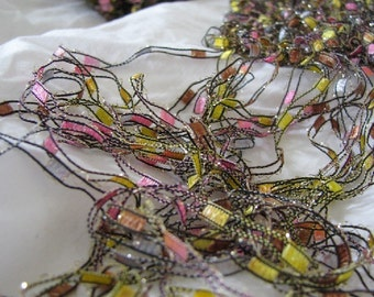 Pink and Yellow Ophelia Hand Knit Silver Sparkle Necklace Scarf - 3 for 2 on all Necklace Scarves