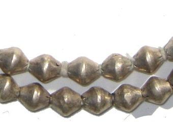 Ethiopian Metal Bicone Beads, Strand of 75 Beads (MET-BIC-SLV-204)