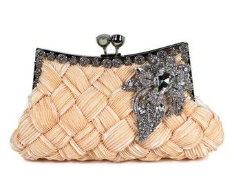 Bridal Clutch, Soft Peach Bridal Clutch, Wedding Clutch, Vintage Style Bridal Clutch, Evening Bag with Large Crystal Vintage Style Brooch