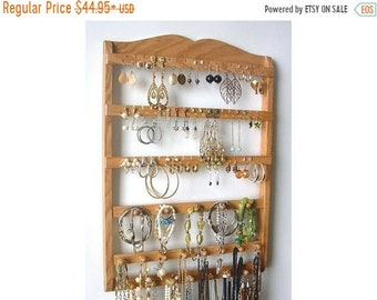 ON SALE Jewelry Holder, Honey Stain Wall Organizer, Earring Organizer, Bracelet Holder, Necklace Holder Bars,  Solid Oak, Jewelry Organizer