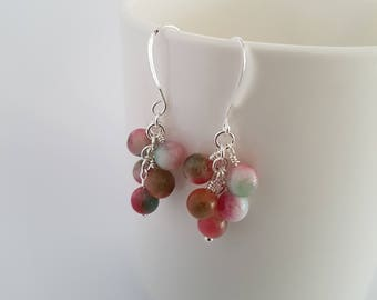 Multicolored jade beads, wire wrapped, silver plated earrings.