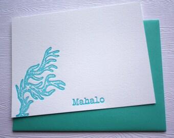 Letterpress Stationery Finger Coral Aloha Mahalo Hawaii