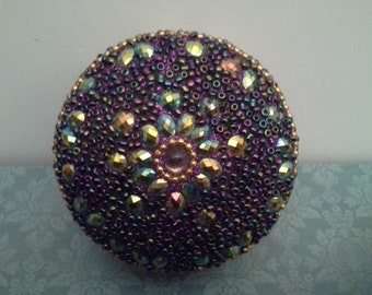 Purple sparkly tin box with lid