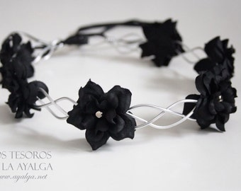 floral crown - flower circlet - gothic crown- statement jewelry