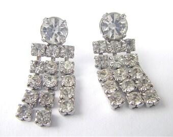 Vintage Rhinestone Earrings Vintage Art Deco Earrings Rhinestone Dangling Earrings Rhinestone Fringe Earrings Rhinestone Studded Earrings