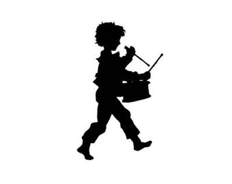 DRUMMER BOY Silhouette lg unmounted music rubber stamp Christmas, 4th of July marching band, Sweet Grass Stamps No.1