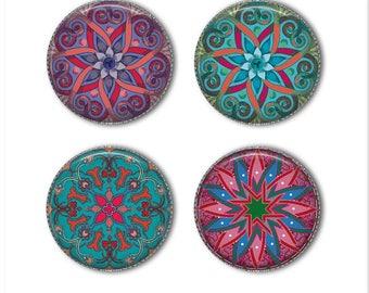 Mandala magnets or mandala pins, refrigerator magnets, fridge magnets, office magnets