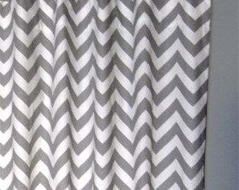 "96"" Grey Zig Zag Curtains - Two Chevron Curtain Panels - 50""x96"" - FREE SHIPPING"
