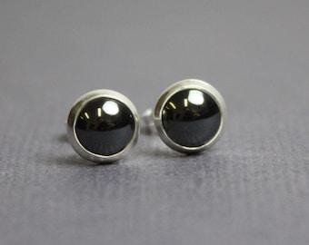 Hematite Stud Earrings, Lab Created Hematite Earrings, Grey Stud Earrings, Grey Post Earrings, 6mm Studs, Hemalyke™ Studs, Kathy Bankston