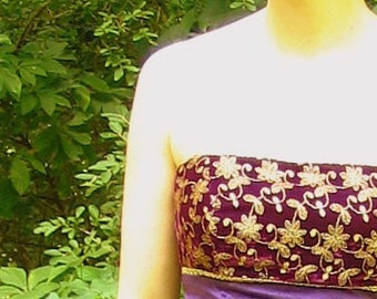 Velvet Upcycled Purple Prom / Party Dress with Gold Embroidery, Modern Size 6, Small