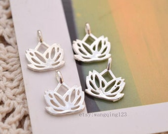 4 pcs lotus charms pendants in sterling silver, JT1