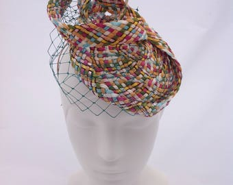 Pastel braid headpiece with veiling