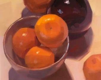 """Art painting still life by Sarah Sedwick """"A Small Bowl of Oranges"""" 8x8 oil on canvas"""