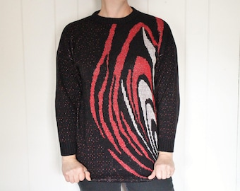 Vintage Ugly Sweater -  80s Sweater - Long - Red and Black - Glitter and Sparkle - 22W 2X - Who's Hot, You're Hot