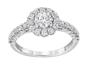 Diamond Halo Engagement Ring, 0.40ct Round Center Diamond, 1.05ctw