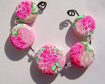 Pink Floral Window  Artisan Polymer Clay Bead Set with Focal and 4 Beads
