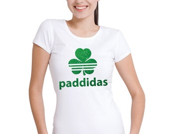 St Patricks Day Paddidas ladies white T-shirt with green glitter.