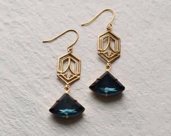 Art Deco Earrings ... Navy Blue Art Nouveau