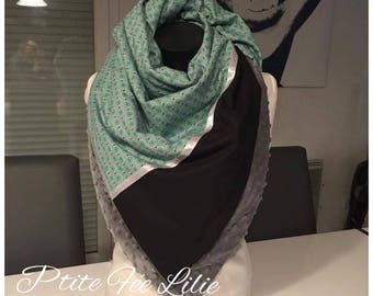 Large square minky and cotton scarf
