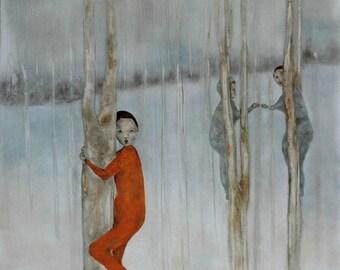 Girls figure art/large figurative wall art/figure art print of original painting/girls room decor/girls in woodland forest A Little Trespass