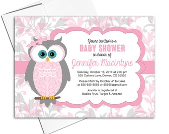 owl baby shower invitation for girls baby shower invites woodland, pink and gray - PRINTED - WLP00730