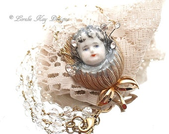 Spring Flower Girl Doll Necklace Whimsical China Doll Face Flower Pendant Lorelie Kay Original