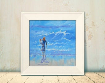"Beach Art Print of my Original Oil Painting. ""Mother and Child on the Beach"" Giclee Print. 12"" x 12"" and 16"" x 16"""