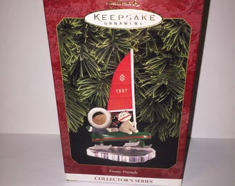Vintage Christmas Hallmark Ornament 1997 Frosty Friends Sailing New in Box