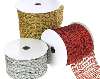 Metallic Tinsel Wired Diamond Netting Mesh Christmas Ribbon, 4-Inch. 10 Yards