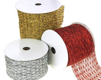 Metallic Tinsel Wired Diamond Netting Mesh Christmas Ribbon, 6-Inch. 10 Yards