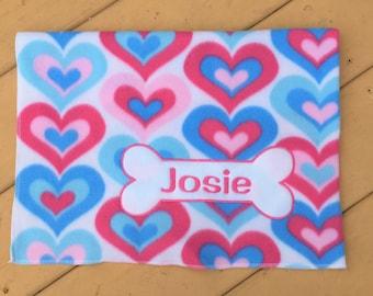 Personalized Dog Blanket, Fleece Dog Blanket, Valentine's Day Gift, Valentine's Day, Personalized Heart Dog Blanket, Dog Lover Gift
